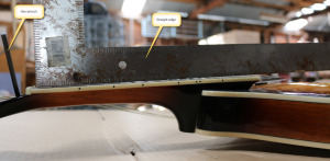 Running a straight edge along the frets you can see where, if anywhere, the fingerboard is bowing.